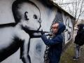 05. 03. 2016 Ljubljana, Trnovski pristan. Risanje grafita z Jurijem Lozićem.