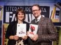06. 03. 2016 Cankarjev dom, Ljubljana. Slavnostni zaključek festivala Fabula: literarni večer s Sjónom. Vodja festivala Renata Zamida in Sjón.